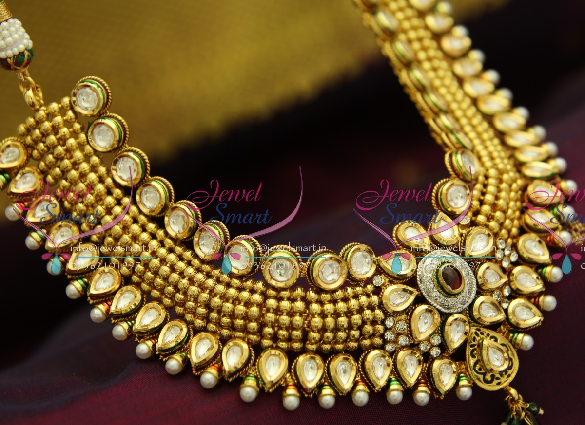 Nl2942 Exclusive Beads Design Kundan Necklace Broad Choker
