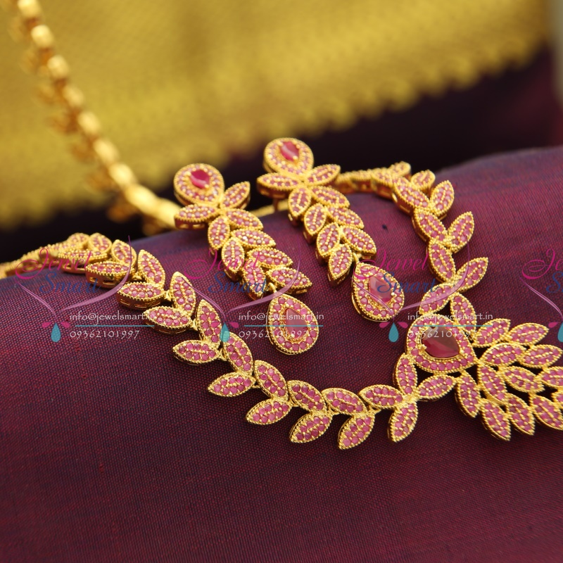 NL2946 South Indian Traditional Ruby Long Haram Necklace Wedding