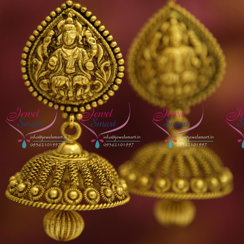 J1124 Antique Nagas Nakshi Temple Traditional Broad Big Jhumka Earrings Online