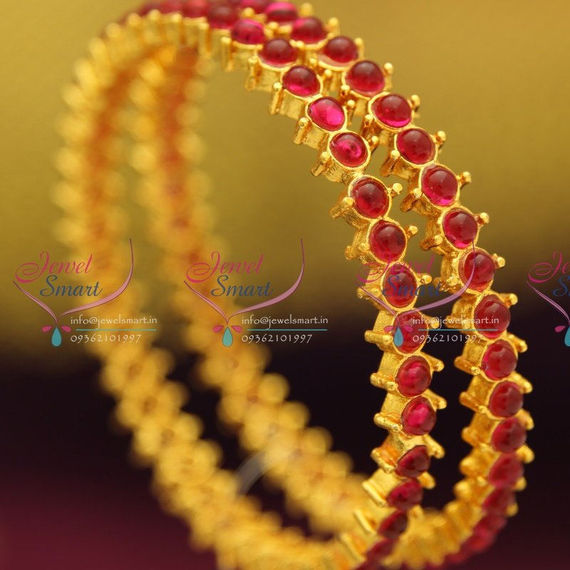 B3000 28 Size Gold Plated Kempu Ruby Stones Temple Jewellery Matching Bangles Collection