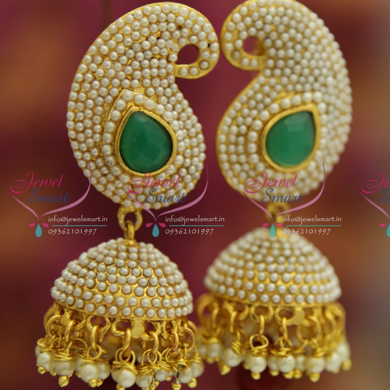 E4227 Exclusive Synthetic Rice Pearl Mango Jhumka Light Gold ...