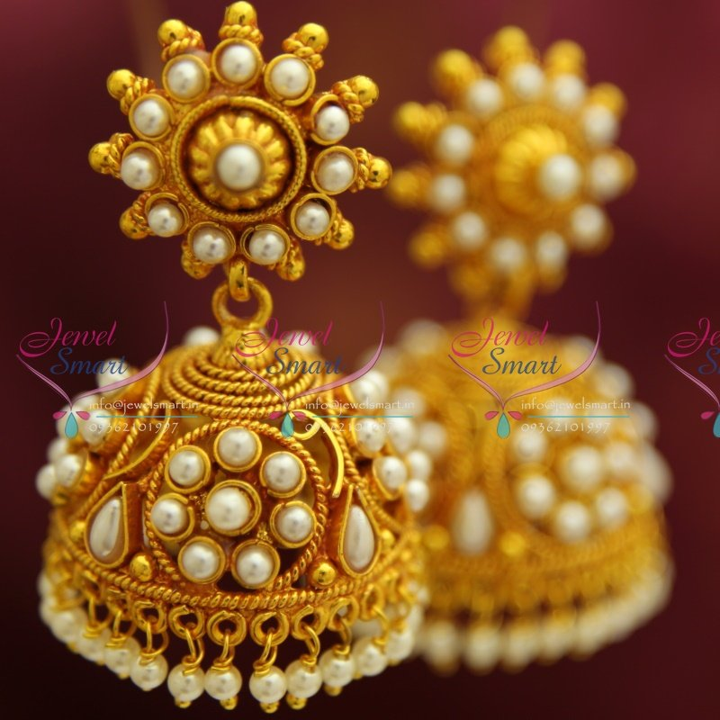 E4216 Red Gold Plated Broad Beads Design Pearl Hangings Jhumka ...