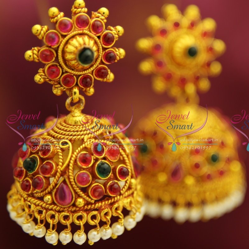 E4219 Red Gold Plated Broad Beads Design Pearl Hangings Jhumka ...