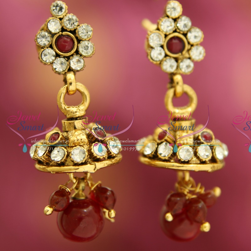 J3303 Mini Antique Gold Plated Jhumka Handmade Fancy