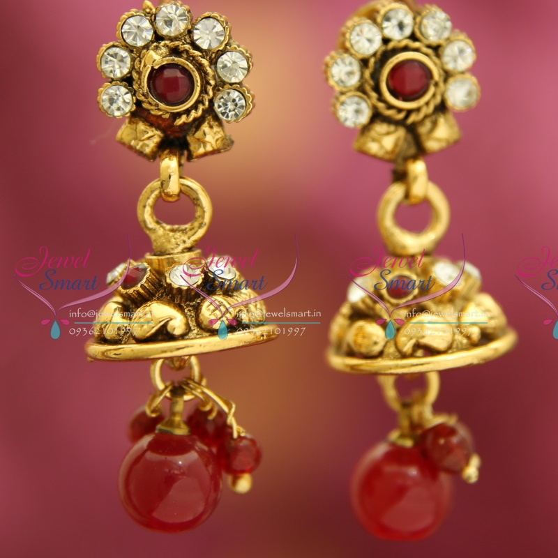 J3305 mini antique gold plated jhumka handmade fancy for Is gold plated jewelry worth anything
