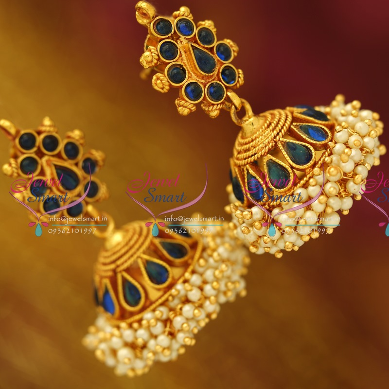 J3311 Synthetic Blue Traditional South Indian Jewellery Big Broad ...