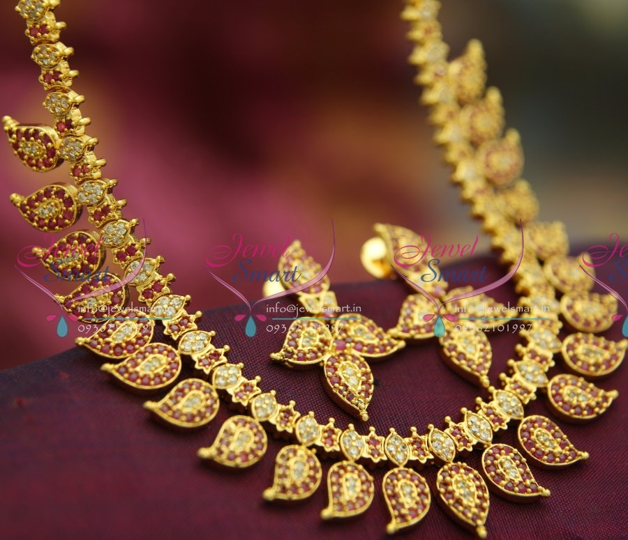 Ethnic Indian Jewelry Gold Necklace Set: NL2393 Ruby White Mango Indian Traditional Gold Design
