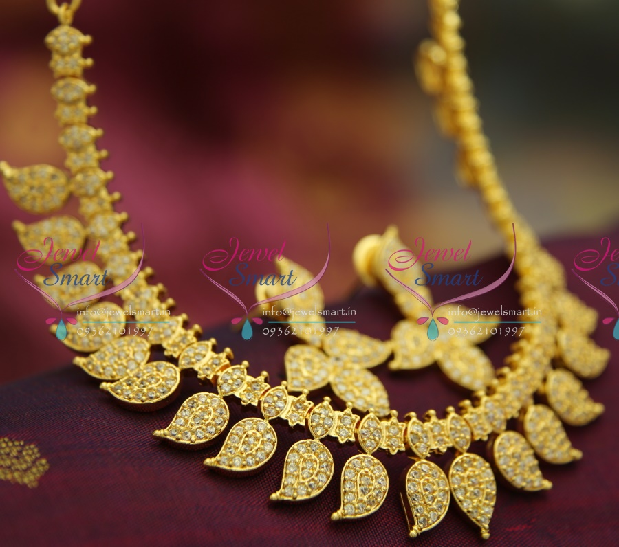 Ethnic Indian Jewelry Gold Necklace Set: NL2634 American Diamond White Mango Indian Traditional