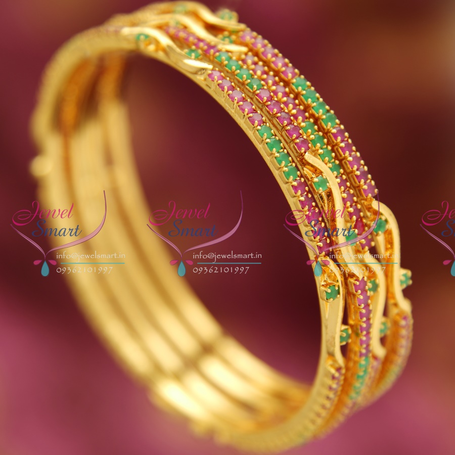 B3330s 2 4 Size Ruby Emerald Gold Plated 4 Pieces Bangle