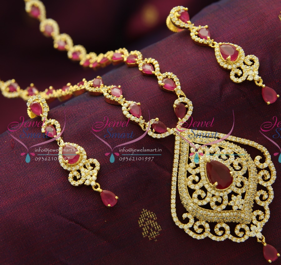 NL1329 Ruby Gold Plated CZ Long Necklace Quality Wedding Jewellery