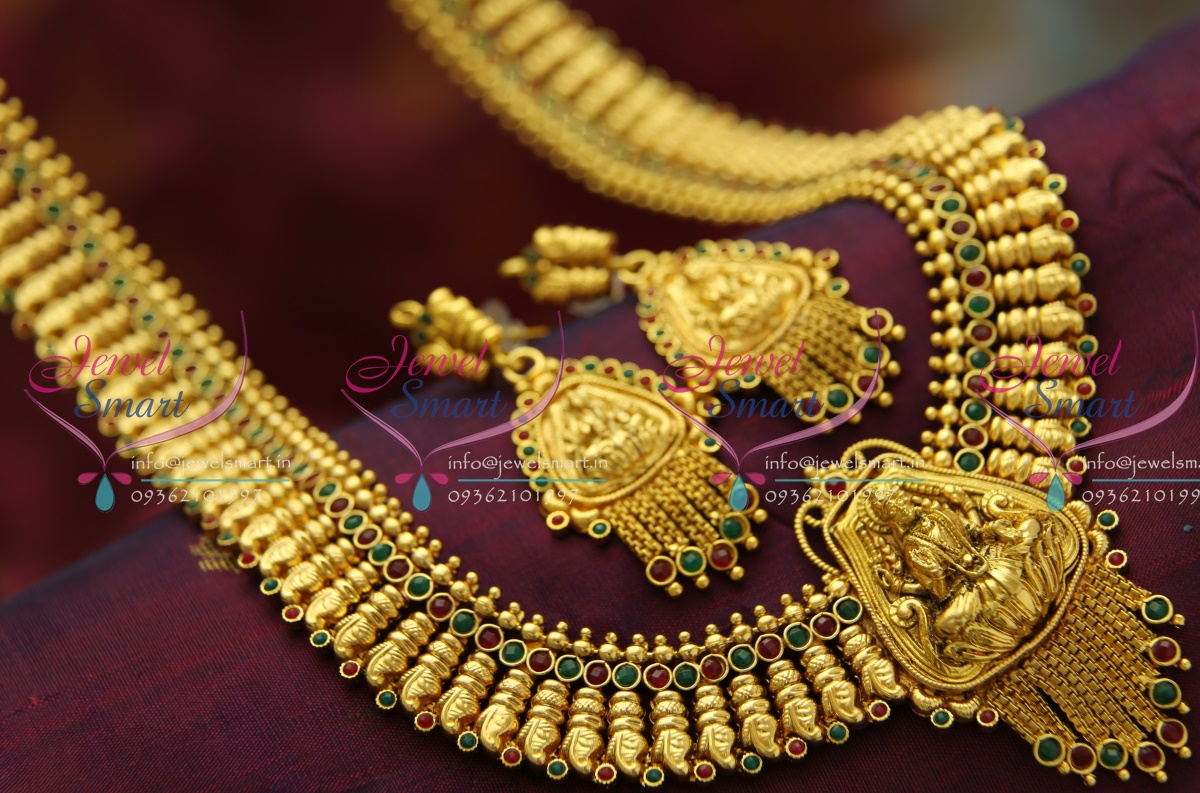 L3471 Temple Jewellery Gold Plated Antique Long Necklace Traditional Haram in Gold Designs