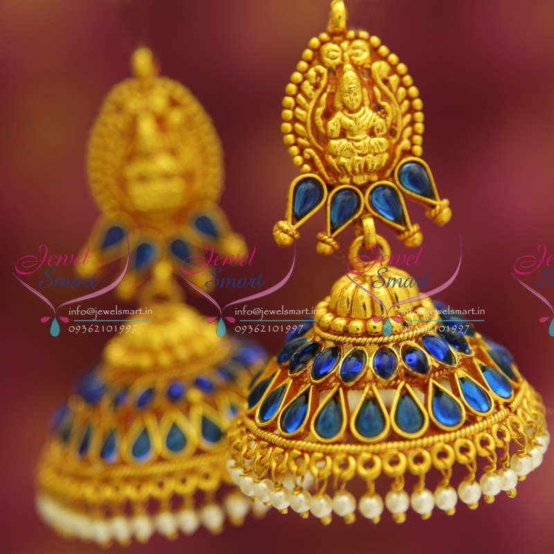 J3425 Temple Laxmi Indian Jewellery God Design Red Gold Plated ...