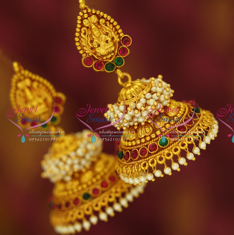 J3428 Temple Laxmi Indian Jewellery God Design Red Gold Plated ...