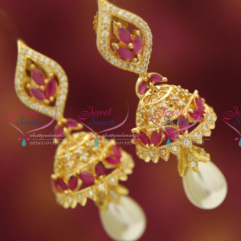 j3433 cz ruby delicate design pearl drops gold plated