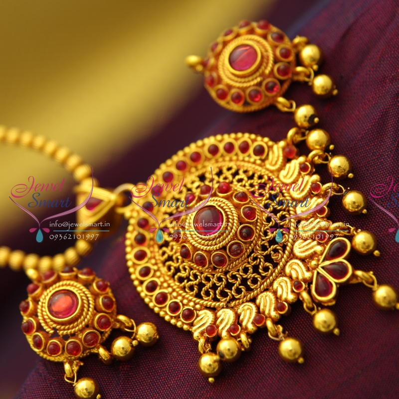 Gold Plated Silver Necklace Set 290 00: PS3455 Red Gold Plated Kemp Stones Leaf Floral Design