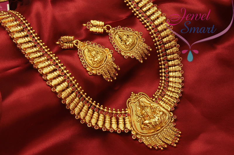 Temple Jewellery Gold Plated Antique Long Necklace in Gold Designs