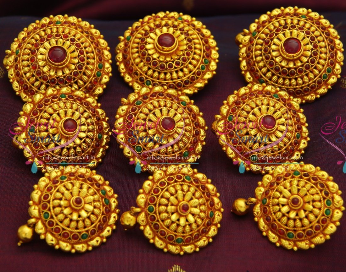 H3073 temple jewellery gheru red gold plated hair decoration hook h3073 temple jewellery gheru red gold plated hair decoration hook type choti 9 pcs set junglespirit
