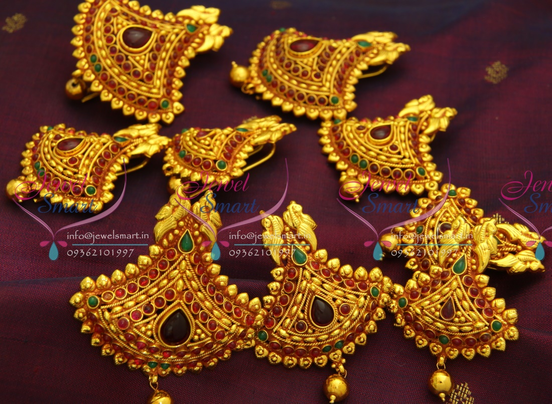 h3476 temple jewellery gheru red gold plated hair decoration hook