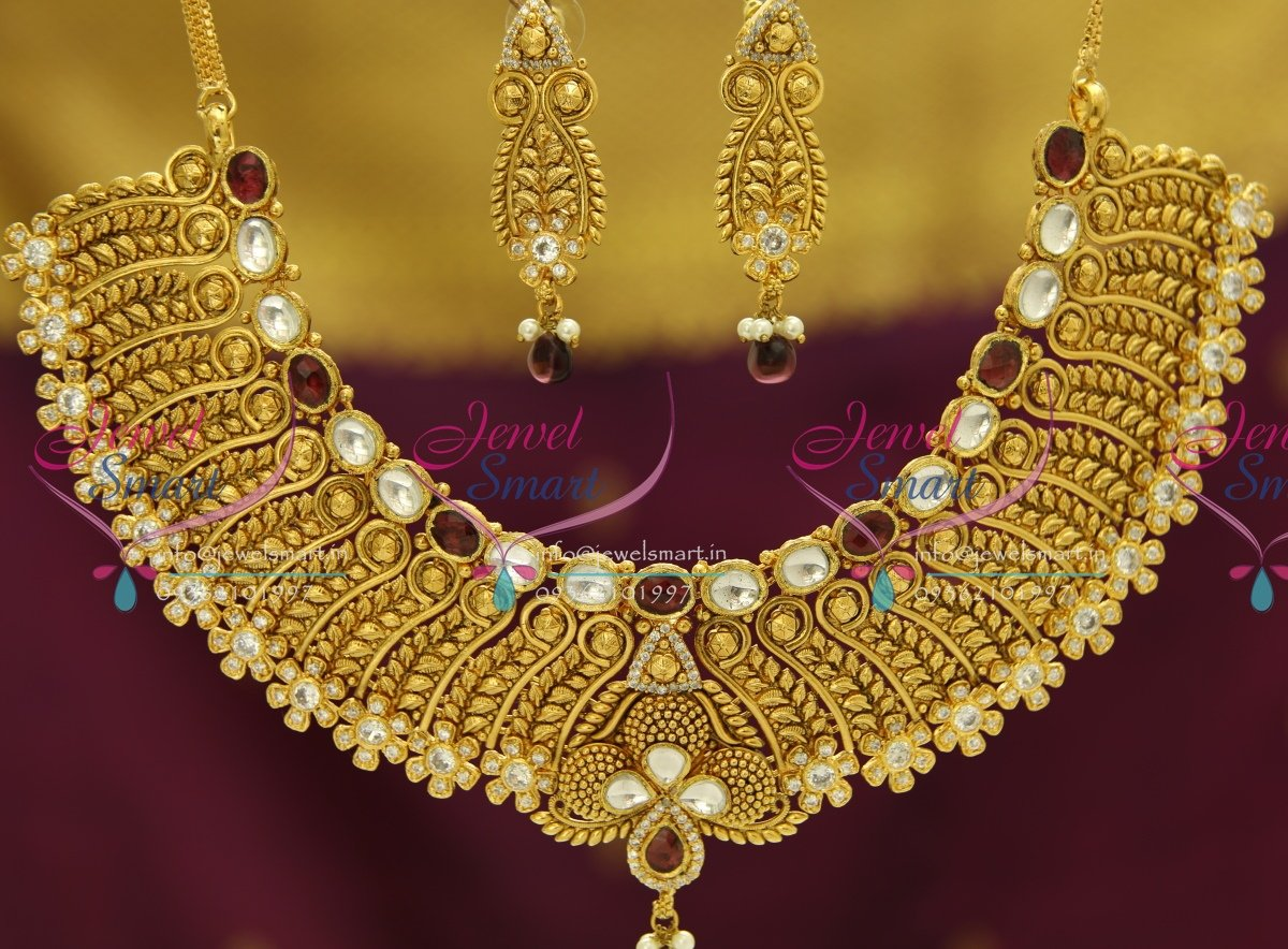 NL3504 Exclusive Gold Design Finish Kundan AD Handmade Grand Look ...