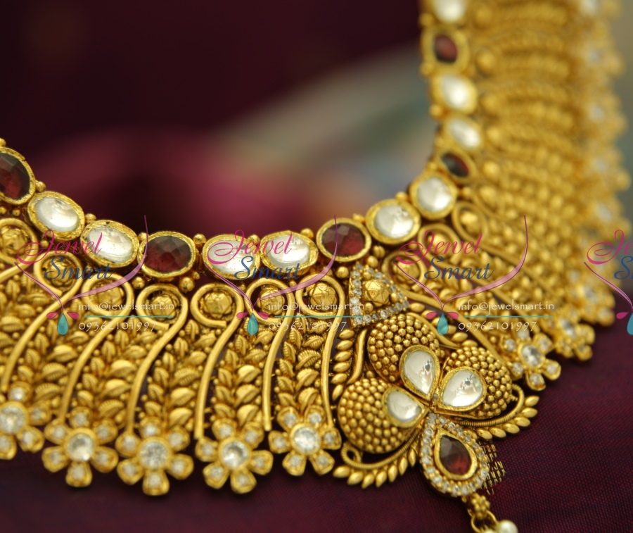 NL3504 Exclusive Gold Design Finish Kundan AD Handmade Grand Look Bridal Jewellery Online