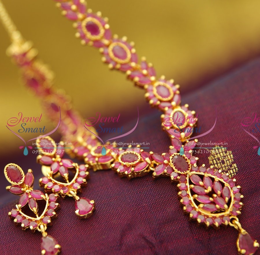 Ad0804 Full Ruby Necklace Traditional Indian Jaipur Design