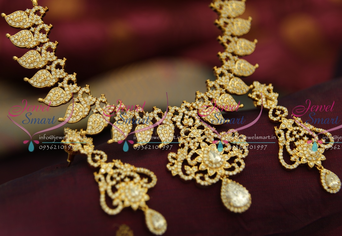 NL3623 Peacock Mango Unique Gold Design Broad Jewellery Set Indian ...
