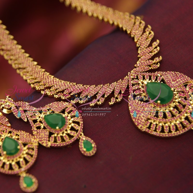 Nl3633 Ruby Emerald Gold Design Immitation Jewellery South Indian