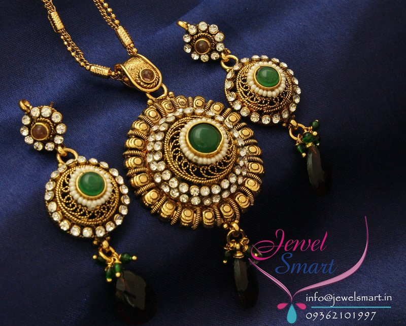 Gold plated antique pendant set with ear rings mozeypictures Gallery