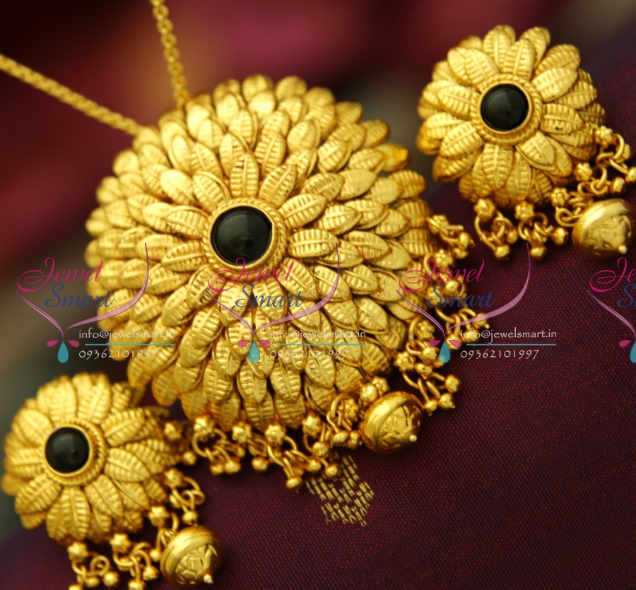 PS3707 Beautiful Leaf Design Antique Gold Plated Pendant Earrings ...
