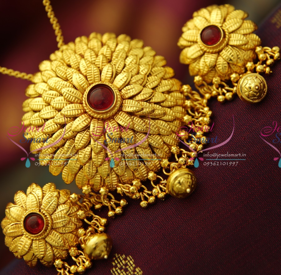 PS3710 Beautiful Leaf Design Antique Gold Plated Pendant Earrings ...