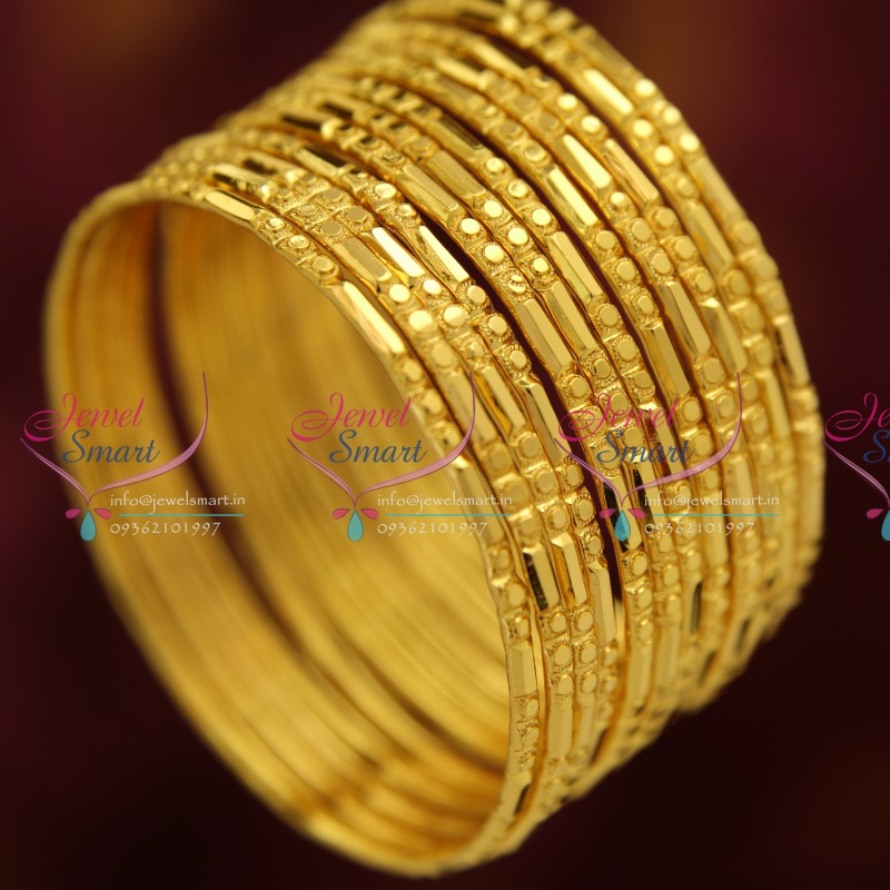 B3735S 2.4 Size Gold Plated 12 Pieces Bangles Set Party ...