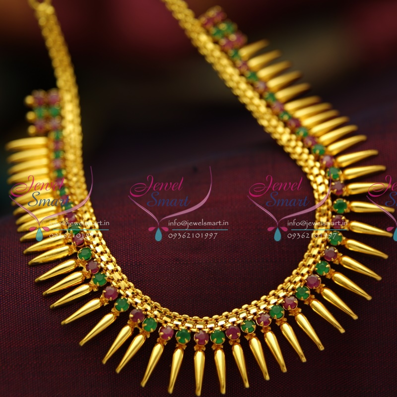 NL3753 Beads Design Ruby Emerald Gold Plated Short Necklace