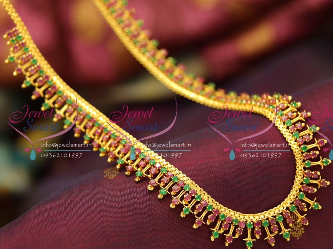 NL3771 Fancy Traditional Gold Design Long Haram Necklace Semi Precious Stones Buy Online