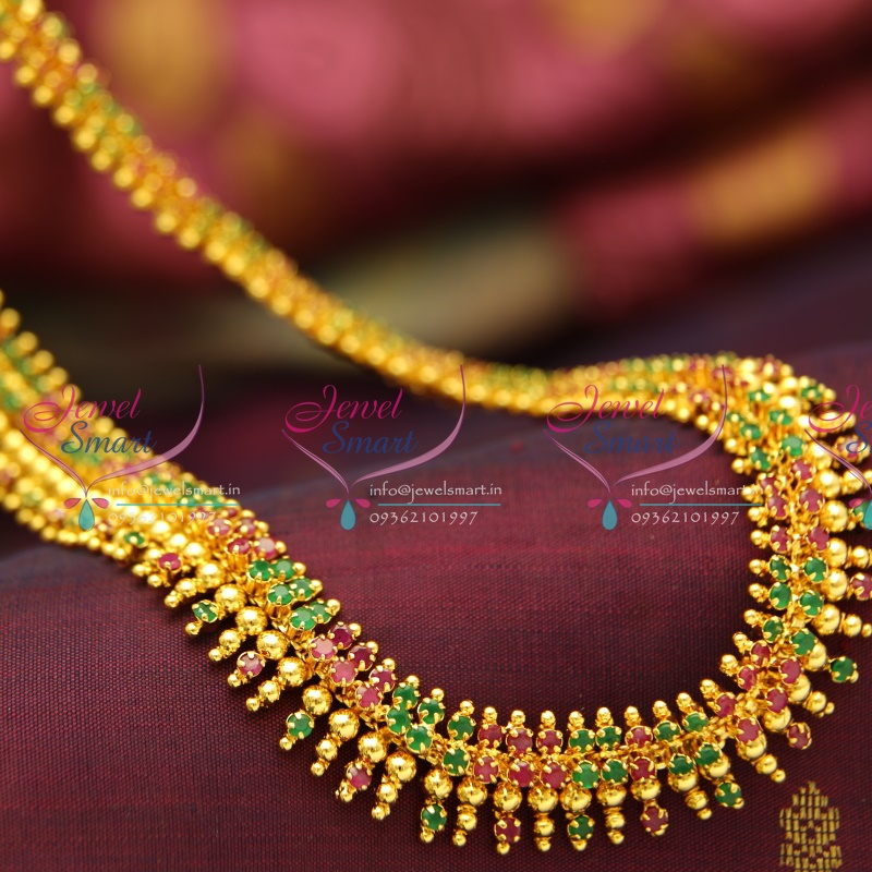 Nl3779 Beads Design Ruby Emerald Gold Plated Haram Long