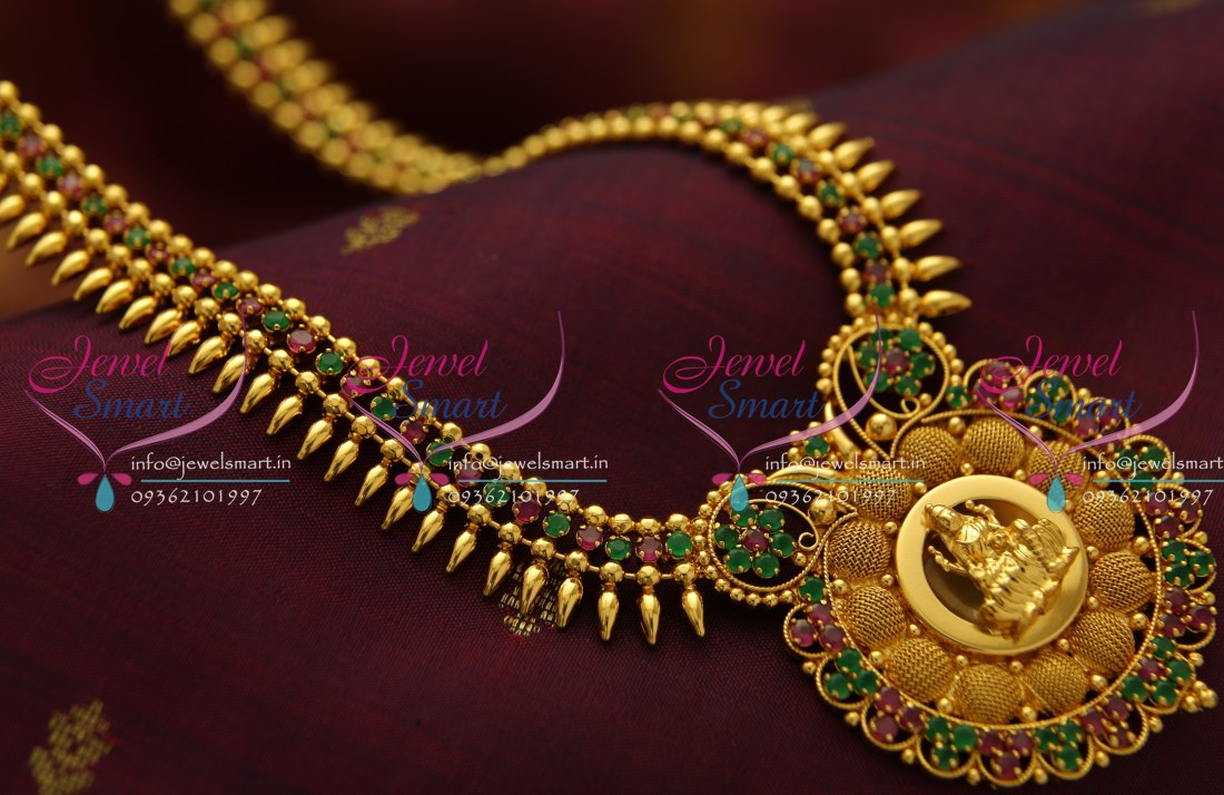 NL3780 Beads Design Ruby Emerald Temple Pendant Gold Plated Haram