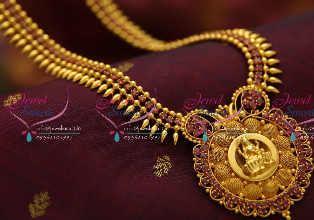 Nl3781 Beads Design Ruby Temple Pendant Gold Plated Haram