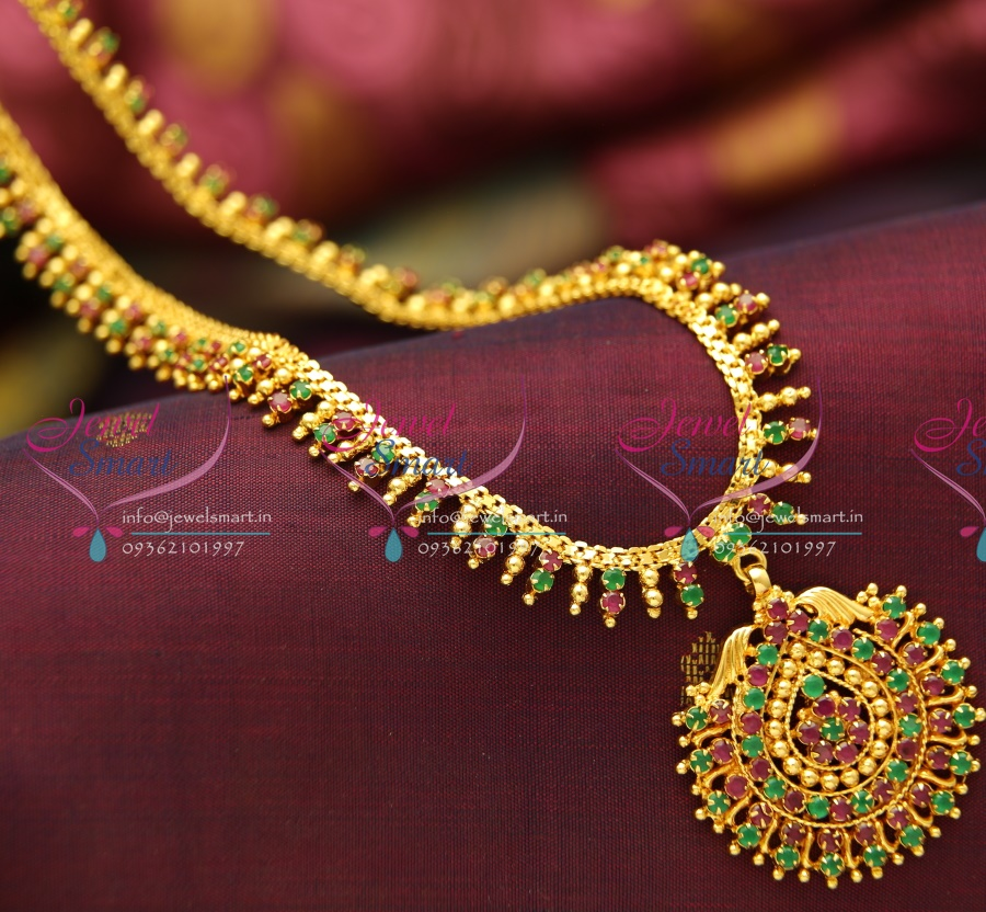 Nl3782 Beads Design Ruby Emerald Gold Plated Haram Long