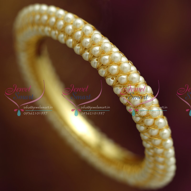 B2755M 2.6 Size Broad Pearl Bangles High Gold Plating Fancy Low ...