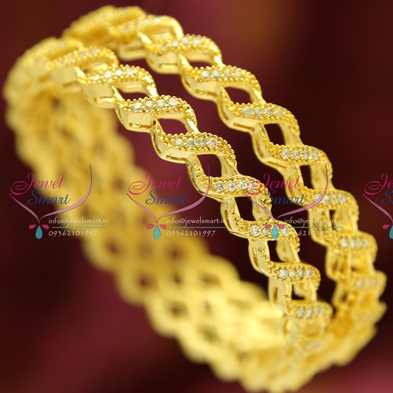 B3823m 2 6 Size American Diamond Light Gold Plated Twisted