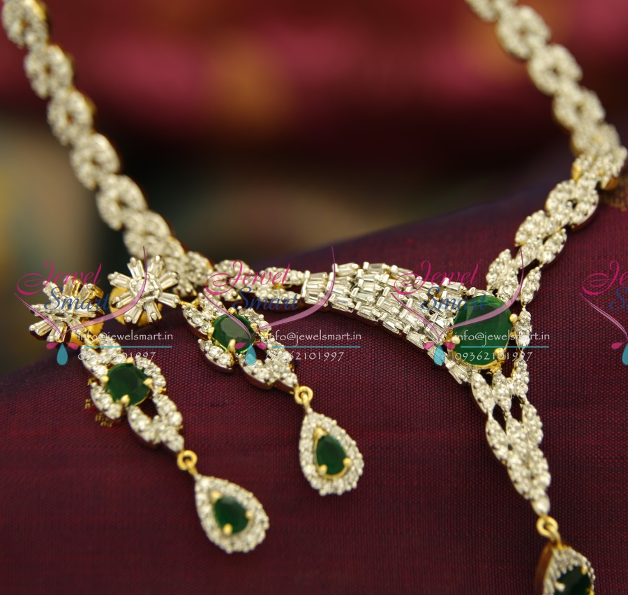 N3790 AD White Emerald Two Tone Gold Silver Plated Diamond Finish ...