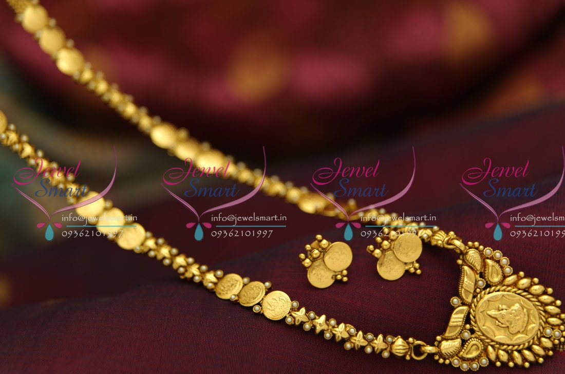 Gold long necklace design with price - Nl3972 Indian Traditional Temple Jewellery Antique Gold Plated Laxmi Haram Simple Elegant Lowest Online Price