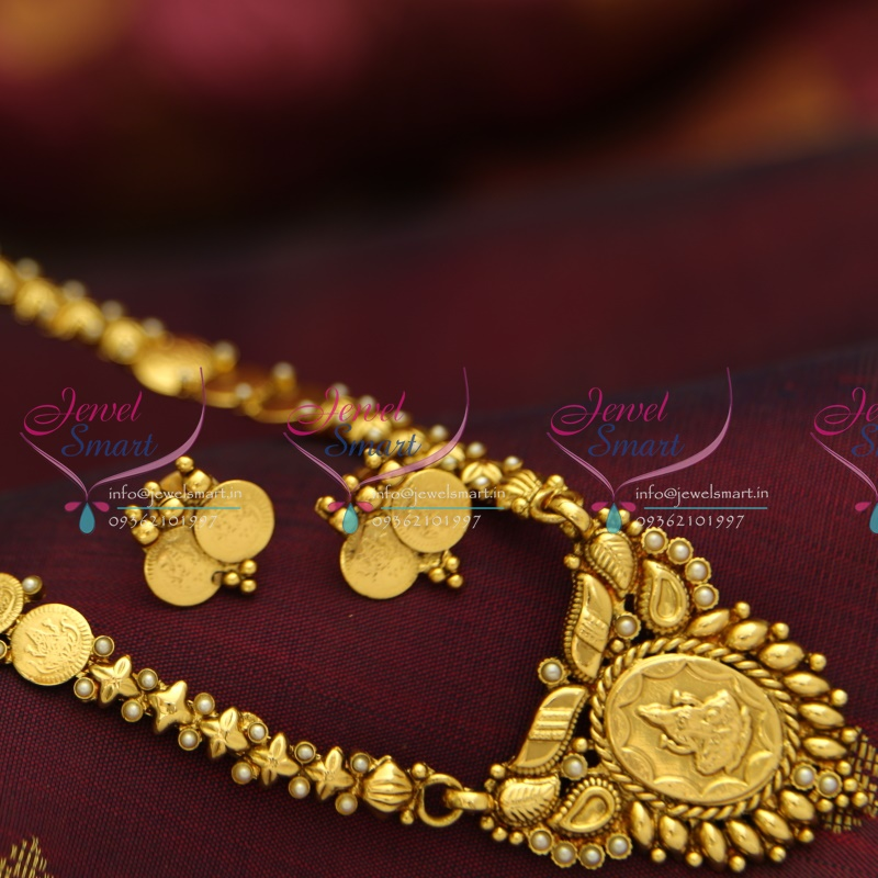 Nl3972 Indian Traditional Temple Jewellery Antique Gold