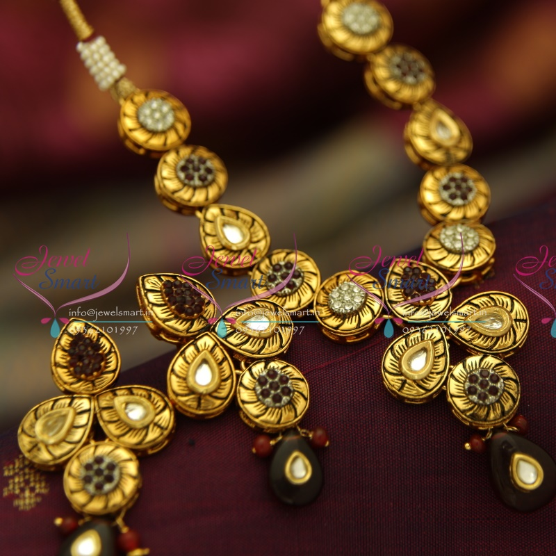 NL4020 Antique Gold Plated Kundan Design Handmade Colour Simple