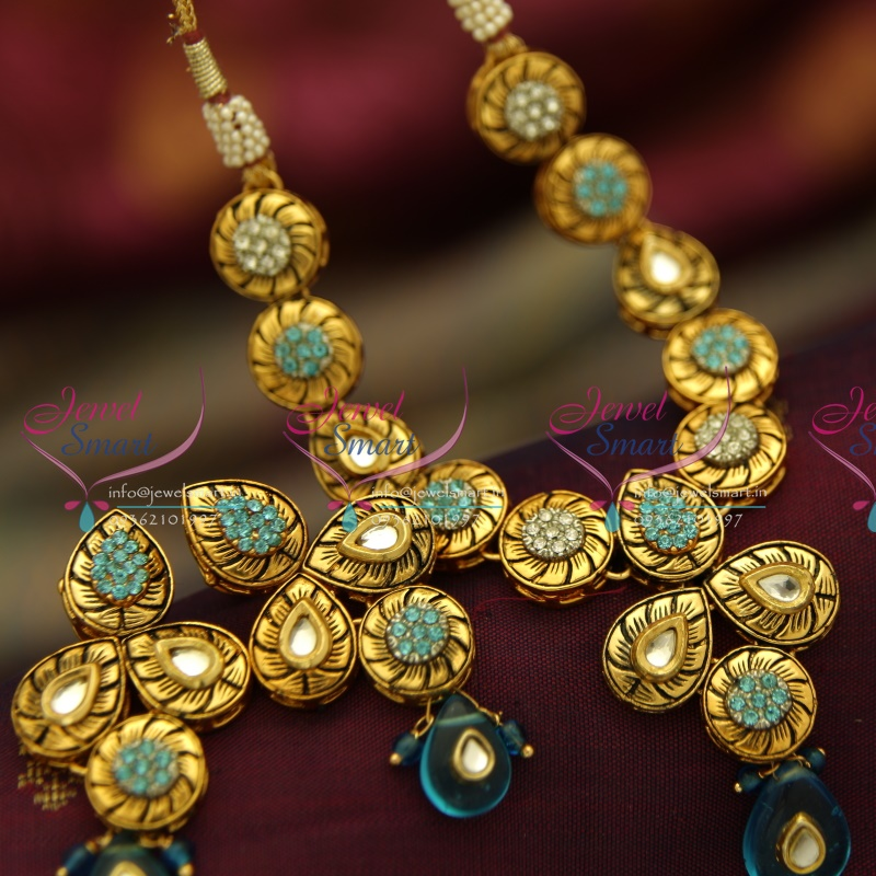 NL4021 Antique Gold Plated Kundan Design Handmade Colour Simple