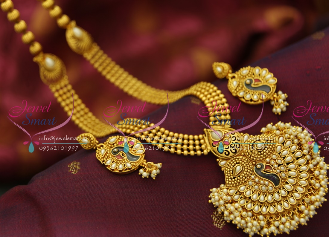 Nl4040 Indian Traditional Haram Pearl Gold Imitation Artificial Jewellery  Peacock Design Long Necklace