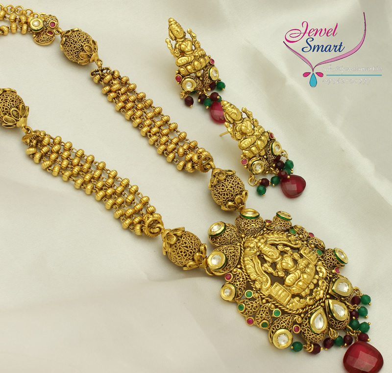 Temple jewelry long necklace earrings gold antique imitation aloadofball Image collections