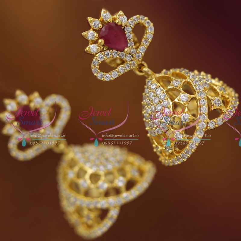 Er4060 Gold Plated Real Look Ruby White Diamond Finish