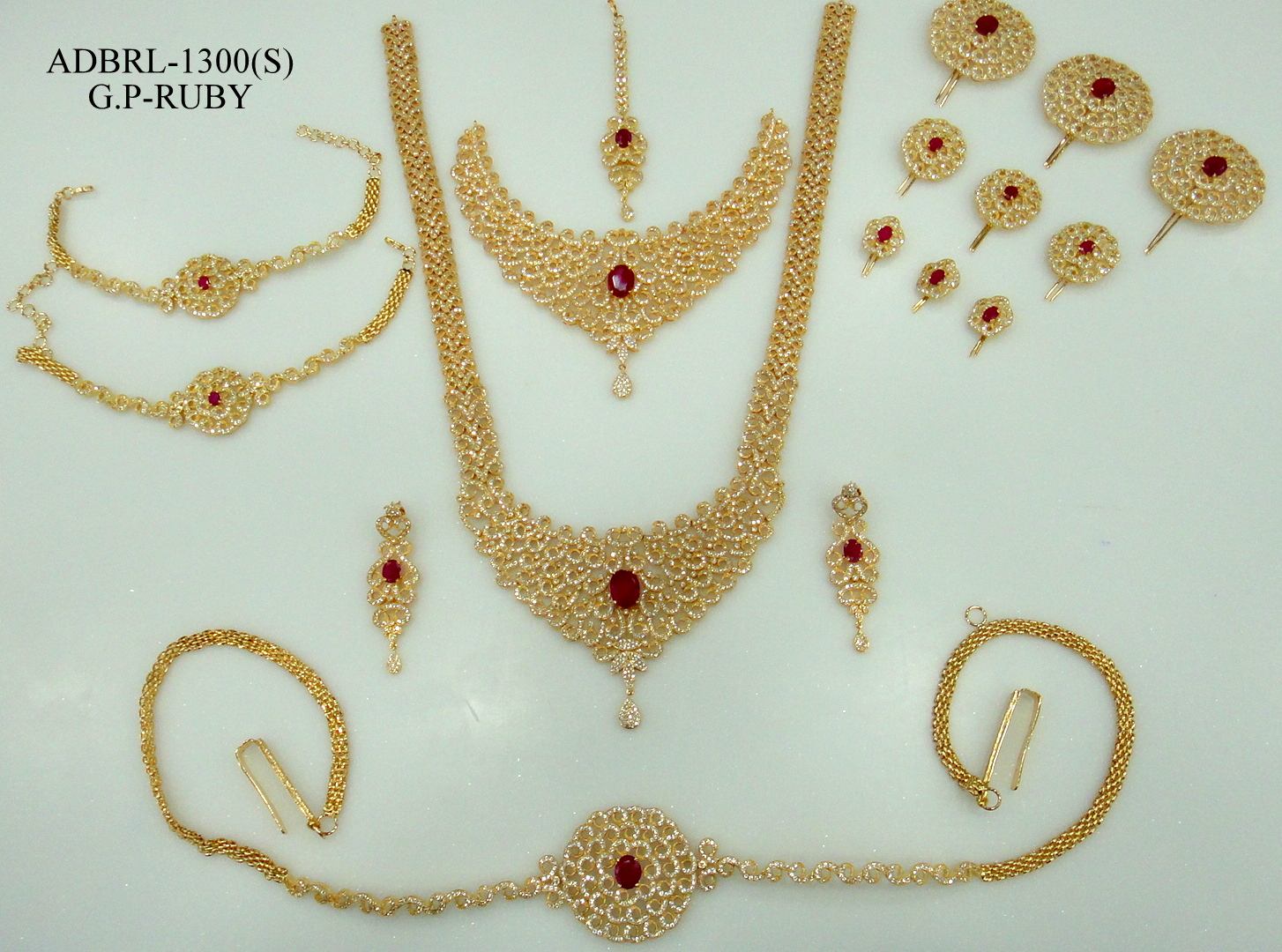 b39d6c705 ADBRL1300GPR American Diamond Grand Full Bridal Jewellery Set Buy Online