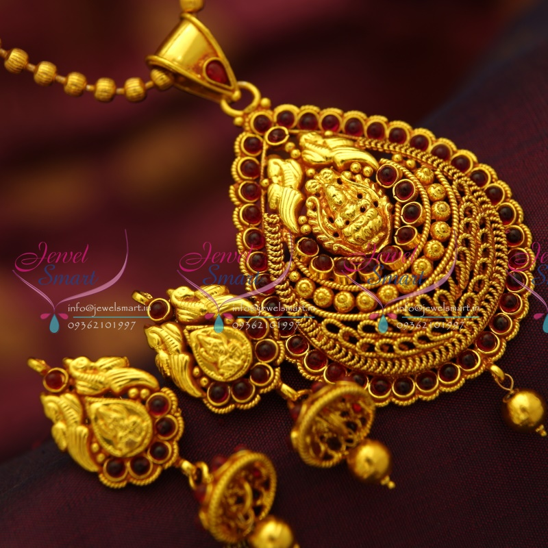 PS4139 Red Gold Plated Kemp Stones South Indian