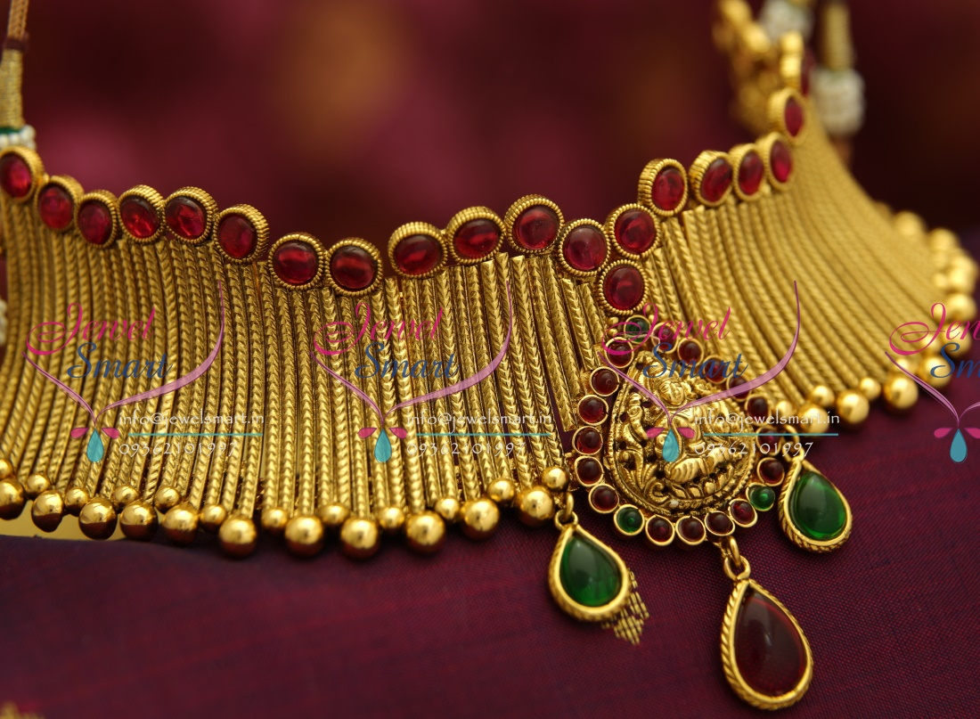 NL4176 Kemp Temple Jewellery Grand Gold Design Choker Jewellery Set
